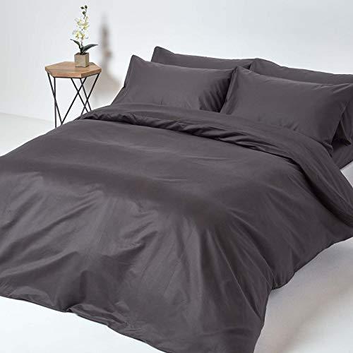 Homescapes 2-teiliges Bettwäsche-Set – 100% Baumwolle, Fadendichte 1000, Perkal-Bettwäsche – Bettbezug 135 x 200 cm mit Kissenbezug 48 x 74 cm, dunkelgrau/anthrazit