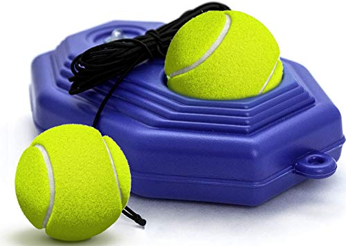 Funsraying Tennis Trainer Tennis Equipment Tennis Ball Trainer Practice Training Tool Sport Exercise Rebound Baseboard Self Tennis Training Tool Ball Back Training Gear with 2 String Balls