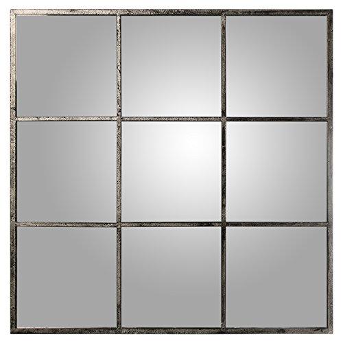 DRW Espejo de Pared Cuadrado con Forma de Ventana, Metal, 120 X 120 X 2 cm