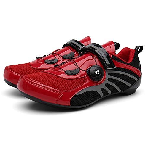 LU-Model Scarpe da Ciclismo per Adulti, Traspiranti, Antivento, per Mountain Bike, Scarpe da Bicicletta con Ammortizzatore, Soletta Interna Suola Rigida per Scarpe da Equitazione Non bloccate Red-42
