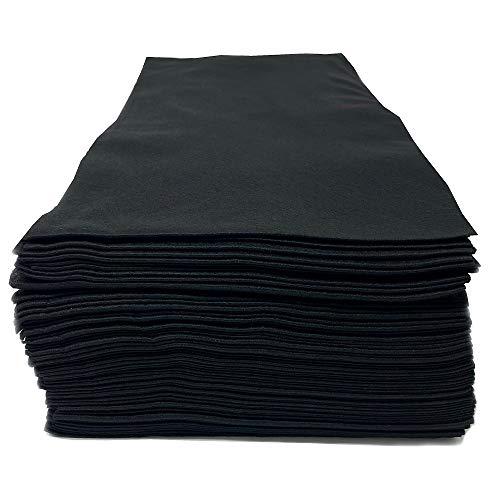 Toallas de salón desechables, lisas negras, fibra de viscosa natural 100% biodegradable, belleza, peluquería, peluquería, spa, 80 x 40 cm