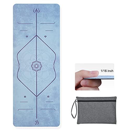 Hivexagon Tapis de Yoga Pliable Epais de 1.5mm Tapis de Gym Antidérapant Tapis de Yoga de Voyage Absorbe la Sueur, Doux et Léger pour Les Exercices de Yoga, Pilate, Fitness et de Remise en Forme