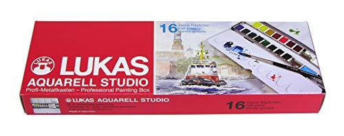LUKAS AQUARELL STUDIO, Aquarellfarben in Premium-Qualität, Set mit 16 x 1/2-Näpfchen und Pinsel im Metallkasten