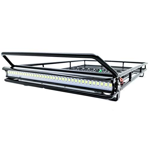 LYXMY 1/10 RC Simulation Car Roof Rack Luggage Rack with Axial LED Spotlight for RC Crawler Car Traxxas TRX4 Bronco Cherokee Wrangler Axial Scx10 RC4WD CC01 TF2(Roof Rack+ LED Spotlight)