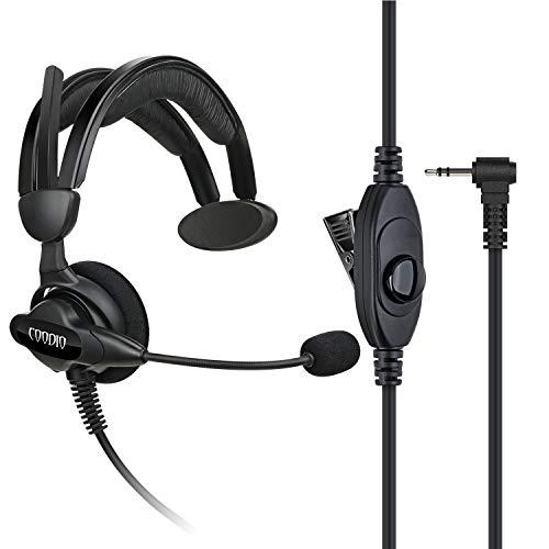 COODIO Motorola TLKR Funkgeräte Ohrhörer 1 Pin Über-Ohr Security Headset [Swivel Boom Mikrofon] [Noise Cancelling] Kopfhörer Mikrofon Für Motorola TLKR Walkie-Talkie PMR