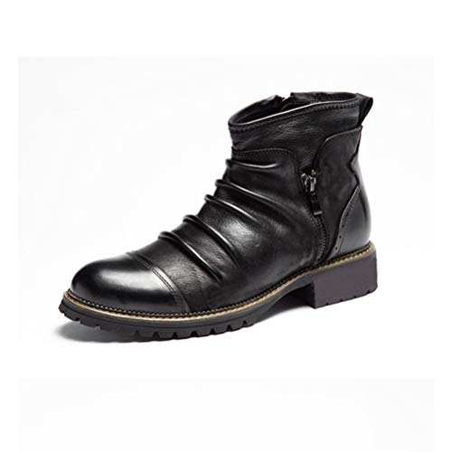 LBCD Botas de invierno para los hombres de cuero de goma Chelsea botas cómodas, moda tobillo zapatos de hombre antideslizantes calzado de cuero de vaca casual, negro, 40