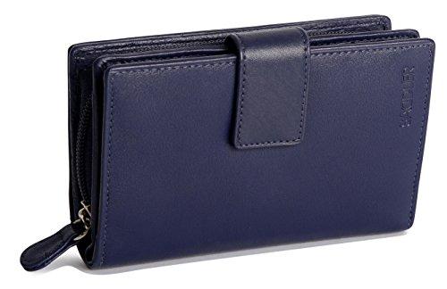SADDLER Senoras 14cm de Alto Volumen Múltiples Secciones Monedero con Cremallera con Cierre de lengueta - Azul Marino
