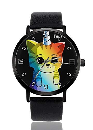 PALFREY Rainbow Unicorn Cat Relojes de pulsera de negocios Casual Sport Reloj de cuarzo para mujeres hombres impermeable unisex