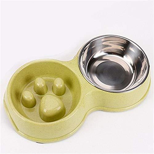 Kalmerende Bed Plush Stainless Steel Double Bowl Pet Food Borden Anti-slip Kattenvoer Bowls Dog Tag (Color : Green)
