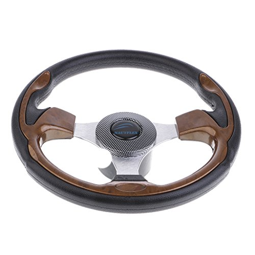 "Dolity 12.6-inch Aluminum Alloy Boat Pontoon Steering Wheel Marine Accessories 3 Spoke 3/4"" Shaft"