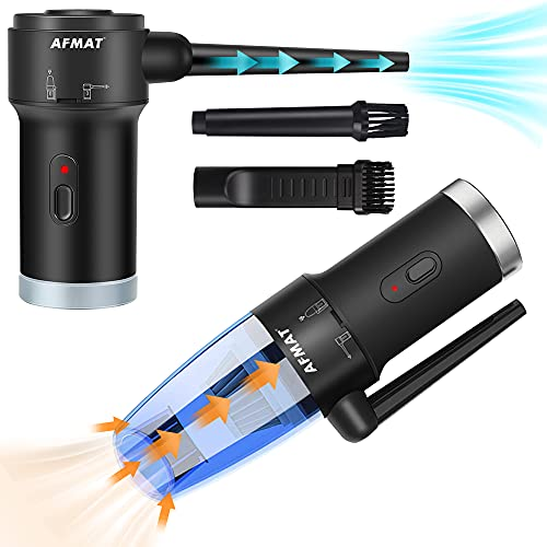 Compressed Air Duster & Small Vacuum Cleaner 2-in-1, PC Air Duster Electric, USB Rechargeable...