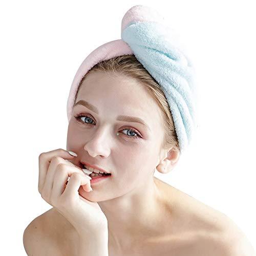 Folding Gorro de toalla para mujer, toalla de baño suave para turbante envolvente, gorro seco, gran regalo para mujeres (color: rosa + verde, tamaño: 2 piezas)