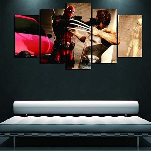 HHXXTTXS Deadpool Vs Wolverine Superhero DC Movie 5 Pièces Impressions sur Toile HD Art Peinture Affiche Tableaux pour La Mur Accueil Décorations Idée Cadeau avec Cadre Prêt à accrocher(150 x 80CM)