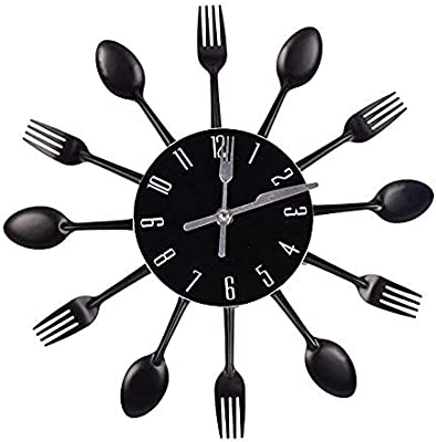 Amazon Com Hua Express Kitchen Wall Clock 3d Modern Creative Kitchen Cutlery Spoon Fork Timelike Wall Clock Wall Sticker Room Home Decoration Black Home Kitchen