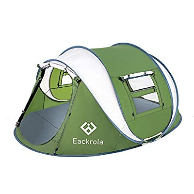 "Eackrola Pop Up Tent,3-4 Person Camping Tents 10 Second Instant Setup Tent,4 Ventilated Mesh Windows 2 Mesh Doors Tent Waterproof Tent,9.2'×7' with 50"" Center Height (Green)"