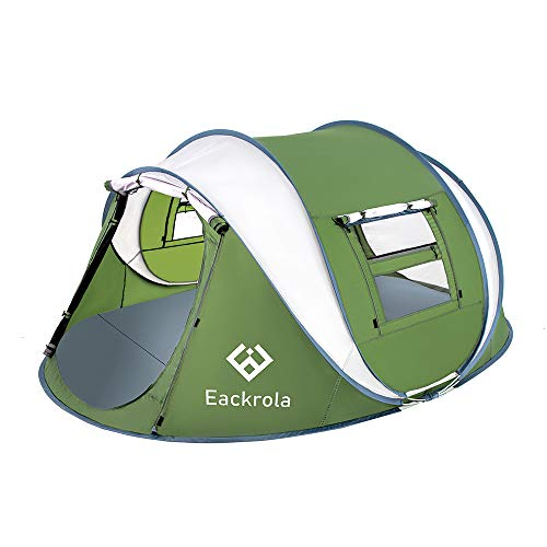 """Eackrola Pop Up Tent,3-4 Person Camping Tents 10 Second Instant Setup Tent,4 Ventilated Mesh Windows 2 Mesh Doors Tent Waterproof Tent,9.2'×7' with 50"""" Center Height (Green)"""