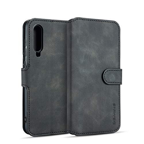 xinyunew Samsung Galaxy A50 Hülle, 360 Grad Handyhülle + Panzerglas Premium Handy Schutzhülle Leder Wallet Tasche Flip Brieftasche Etui Schale (Schwarz)
