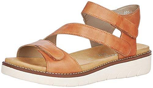 Remonte Damen Sandalen D2050, Frauen Riemchensandalen, Freizeit römer-Sandale Sandalette Gladiatoren-Sandale sommerschuh Lady,noccia,45 EU / 10.5 UK