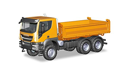 Herpa- Iveco Trakker - Camion da Costruzione, 6 x 6, Arancione, Multicolore, Keine