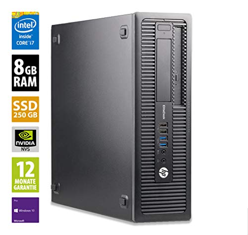 HP EliteDesk 800 G2 SFF - Core i7-6700 @ 3,4 GHz - 8GB RAM - 250GB SSD - DVD-RW - Nvidia Quadro NVS 310 - Win10Pro (Zertifiziert und Generalüberholt)