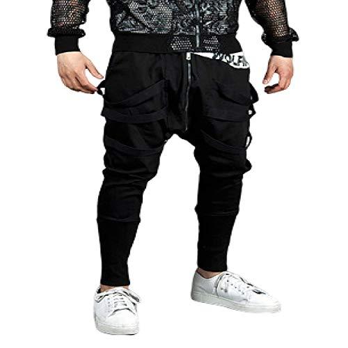 Männliche Persönlichkeit Stitching Reißverschluss Haremshose Mode Tapered Streetwear Hip-Hop Freizeithose Frühling und Herbst XXL