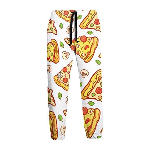 AEMAPE Pantalones de chándal para Hombre Pantalones Casuales de Pizza de Dibujos Animados Pantalones Deportivos Suaves y cómodos