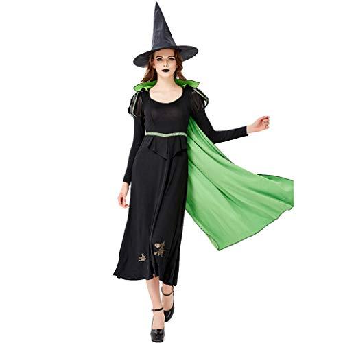 Fannyfuny Damen Halloween Kleider Frauen Mode Langarm Rundhals Mini Kleider Long Dress Elegant Maid Dress Casual Lose Bequem Oktoberfest Kostüm Lange Maxi Kleid Schwarz S M L XL