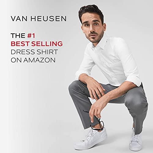 Van Heusen mens Regular Fit Poplin Solid dress shirts, White, 17.5 Neck 34 -35 Sleeve X-Large US