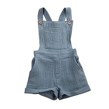 Mubineo Toddler Girl Boy Basic Plain Pocket Bib Overalls Summer Overall Shorts  Grey Blue  3T