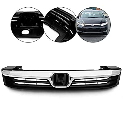 Front Bumper Hood Upper Grille Grill Compatible For Honda Civic 4DR 2012 Black w/Chrome Molding