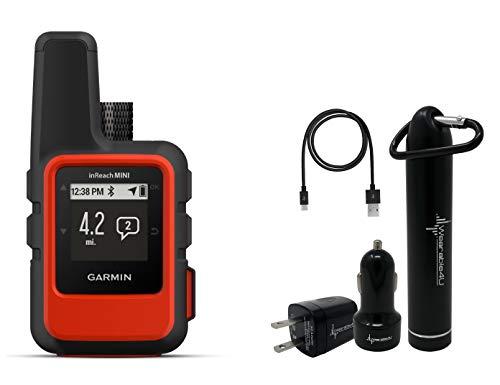 Garmin InReach Mini Handheld Iridium Satellite Communicator and Wearable4U Ultimate Power Pack Bundle (Orange)