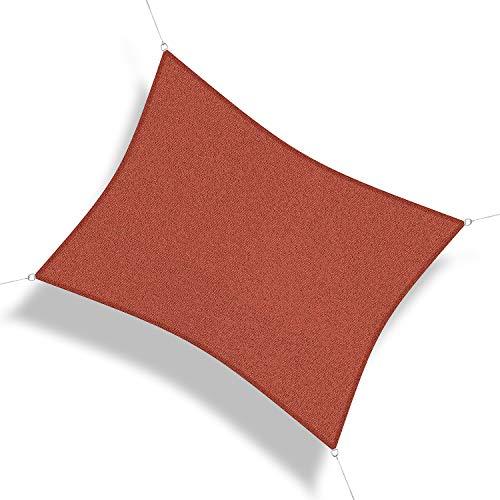 Corasol 160069 Premium Sonnensegel, 3,5 x 4,5 m, Rechteck, Wind- & wasserdurchlässig, rot