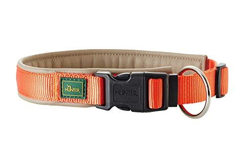 HUNTER SEVILLA VARIO PLUS Halsung für Hunde, Nylon, mit Kunstleder unterlegt, Zugentlastung, 35, orange/taupe