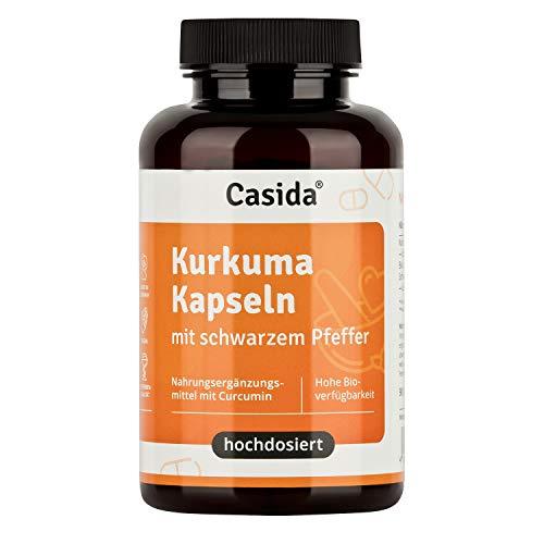 Casida® Kurkuma Kapseln + Pfeffer Curcumin hochdosiert 95% igen Curcuma Extrakt in Kombination mit Bio-Kurkuma Pulver und Piperin aus schwarzem Pfeffer Extrakt - Aus der Apotheke - 90 Kapseln