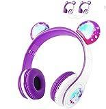 Kids Wireless Headphones WOICE, Bluetooth Headphones 85dB Volume Limiting, LED Lights & Music Sharing Function, Girls Boys Wireless/Wired Headphones Over Ear with Mic Purple
