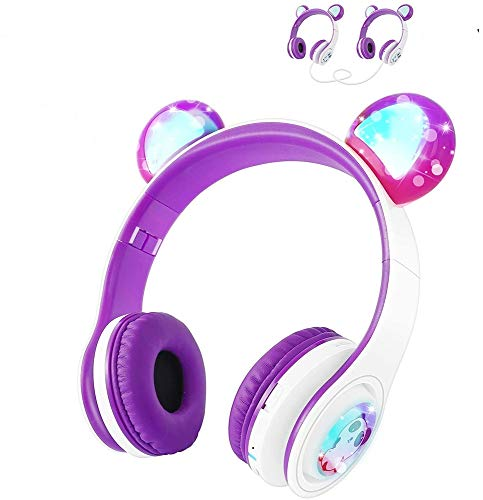 Kids Wireless Headphones WOICE, Bluetooth Headphones 85dB Volume Limiting, LED Lights & Music Sharing Function, Girls Boys Wireless/Wired Headphones Over Ear with Mic Purple