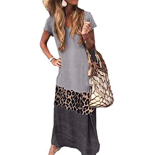 Vestido de Mujer Contraste Simple y Flojo Color de Leopardo Costura Manga Corta Estampado con Cuello en V...