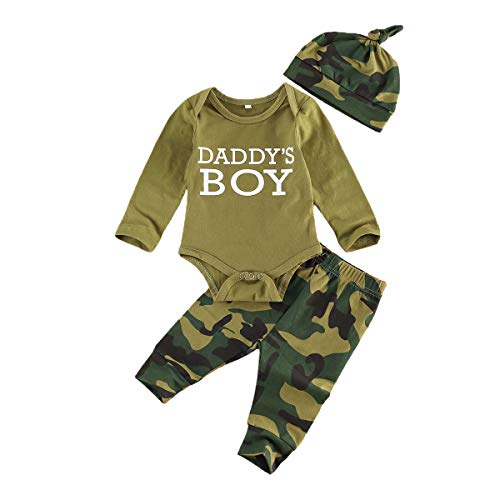 Pelele para bebé y niña, 3 piezas, verde militar, manga larga, con estampado de camuflaje, gorro y ropa de bebé Verde Aa. 3-6 Meses
