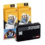 "Kodak Mini 2 Retro 2.1x3.4"" Portable Photo Printer (60 Sheets), Wireless Connection, Compatible with iOS, Android & Bluetooth, Real Photo, 4PASS & Lamination Process, Premium Quality- Black"