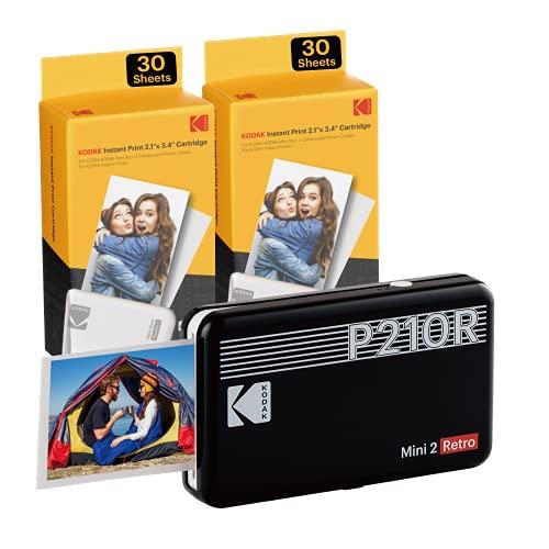 Kodak Mini 2, Impresora Fotos movil + 86 Fotos, Mini Impresora Móvil De Fotos Instantáneas Tamaño 54X86Mm, Compatible con Smartphones iOS y Android - Negro