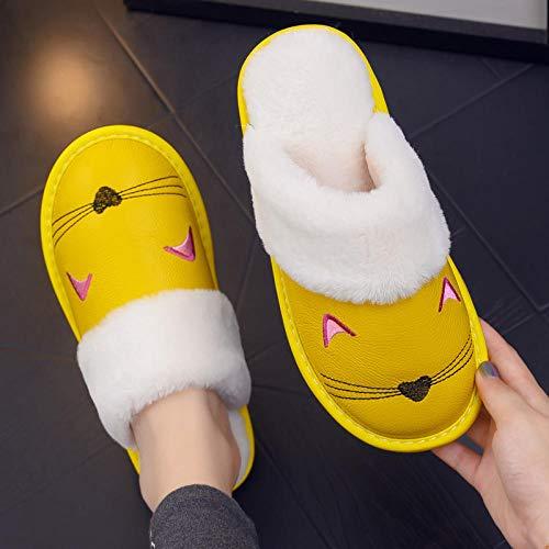 Nuevas zapatillas Slip On Mules para hombre,Zapatillas cálidas de dibujos animados, zapatos de algodón antideslizantes de suela gruesa-yellow_37-38,Zapatos de interior para mujer lavables para hombre