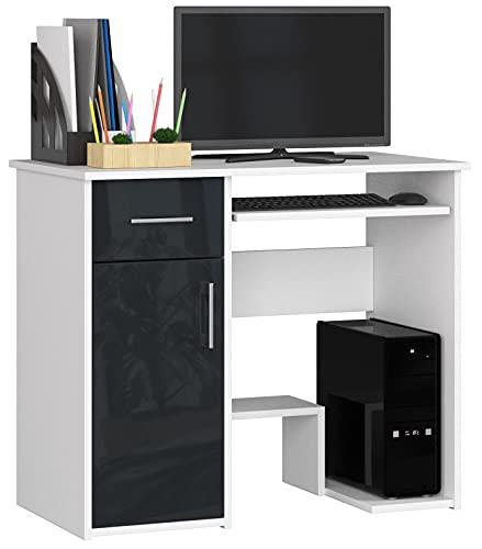 ADGO Jay Escritorio de 90 x 74 x 50 cm, 1 cajón y 1 armario, bandeja extraíble para teclado, mesa de oficina para trabajo, estudio, habitación de los niños, color blanco/grafito brillante