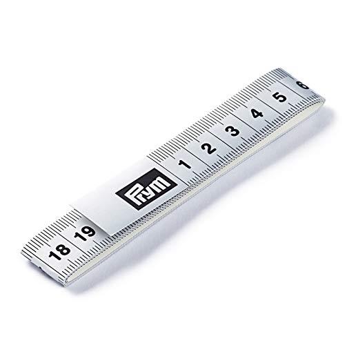 Prym Maßband Fixo Plus selbstklebend 150 cm/cm, Poly-Fiber-Gewebe, silberfarbig