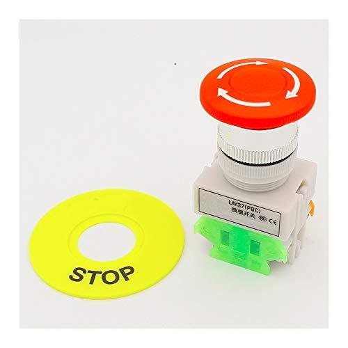 Bouton poussoir rouge pour champignon 1 NO 1 NC DPST - Interrupteur d'arrêt d'urgence AC 660 V 10 A