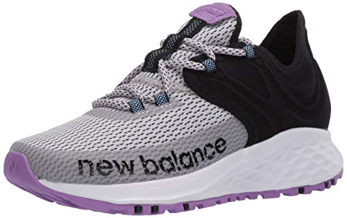New Balance Women's Roav Trail V1 Fresh Foam Running Shoe, Light Aluminum/Black/NEO Violet, 12 D US