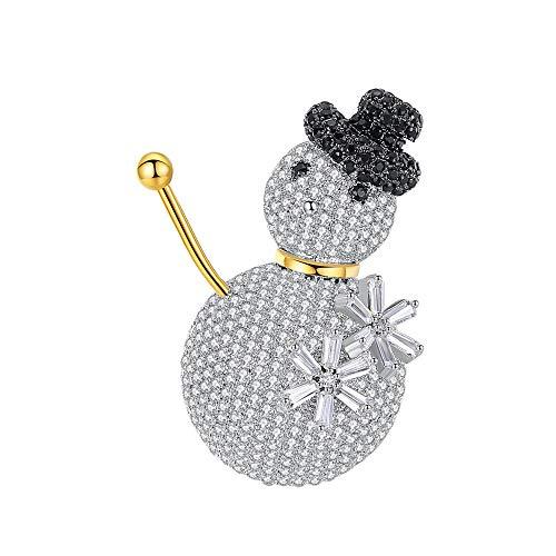 KEKE Frauen Schneemann Stil Brosche Pin Weiß Schwarz Gold Exquisite Elegante Silber Überzogene Legierung Für Party Bankett Hochzeit