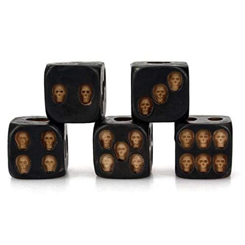 hong Wu Pack De 5 Mini Cráneo Dado De 6 Caras Dados Cráneo De La Resina Hecha a Mano Los Dados 3D Crafts Festival Tabla Cráneo Herramienta Juego De Halloween Juego De La Barra De Juguetes