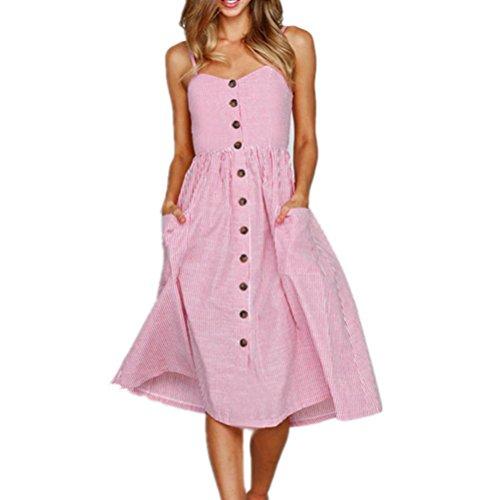 SANFASHION 2019 Damen V Ausschnitt A-Linie Kleid Träger Rückenfreies Kleider Sommerkleider Strandkleider Knielang Sommer Maxikleider