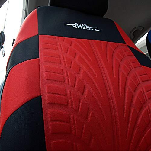 AUTOYOUTHタイヤトラック詳細シートカバー車インテリアアクセサリーユニバーサルフィット-4ピースレッド