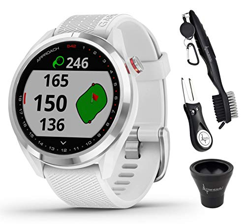 Garmin Approach S42 Premium GPS Golf Watch, Polished Silver with White Silicone Band and Wearable4U All-in-One Golf Tools Bundle